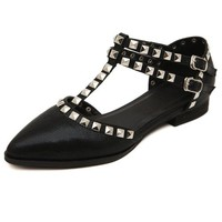 Women's Rivets T-Bar Flat Shoes 041829 FDP0528
