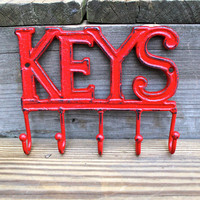 Red Cast Iron &quot;KEYS&quot; Wall Hook by AquaXpressions
