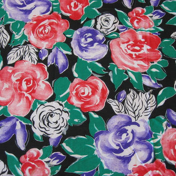 Vintage Fabric Red & Purple Roses - 1 YARD, 19 INCHES