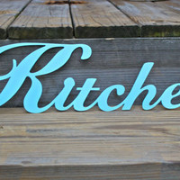 "Aqua Blue ""KITCHEN"" Metal Wall Art by AquaXpressions"