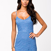 PIPING LACE DRESS - BLUE