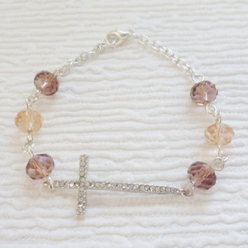 silver cross bracelet beaded cross bracelet beaded jewellery pink purple beaded bracelet handmade bracelet fashion jewellery gift for women