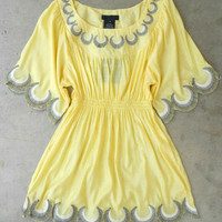 Embroidered Jaune Boheme Tunic [2783] - $27.00 : Vintage Inspired Clothing & Affordable Summer Dresses, deloom | Modern. Vintage. Crafted.