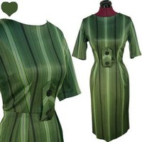 Vintage 50s 60s GREEN Stripes Cocktail Party Mad Men Dress S Sheath Wiggle Pinup | eBay