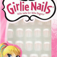Little Fing'rs Girlie Nails Stick-On Nails, Sparkle Tip French, 24 ct.