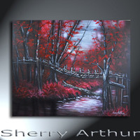 Red Forest Trees With Bridge And River Landscape Original Artwork 24x30 Bridge Of No Return