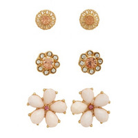 FLOWER & RHINESTONE EARRING SET