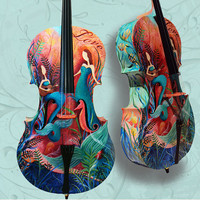Custom Painted Cello Full Size Instruments by JuleezGallery