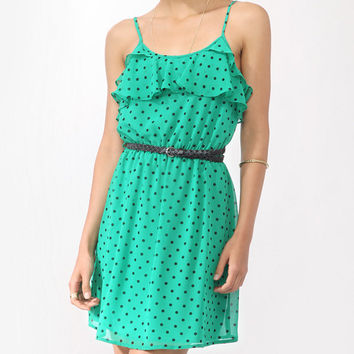 Flounced Polka Dot Dress w/ Belt | FOREVER21 - 2000043520