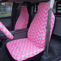 1 Set of Grey and Pink  Chevron Print Car Seat Covers and 1 Piece Steering Wheel Cover Custom Made.