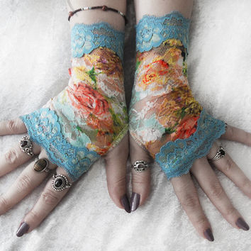 Rococo Dreams Lace Fingerless Gloves - Tiffany Blue Aqua Sea Orange Yellow Cream Green Mint Purple Floral - Bridal Wedding Spring Bridesmaid