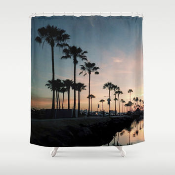 Palm Tree Marina Lane Shower Curtain by RichCaspian | Society6