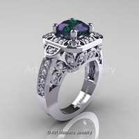 Art Masters Classic 14K White Gold 2.0 Ct Alexandrite Diamond Engagement Ring Wedding Ring R298-14KWGDAL