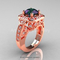 Art Masters Classic 14K Rose Gold 2.0 Ct Alexandrite Diamond Engagement Ring Wedding Ring R298-14KRGDAL