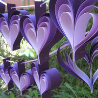 Two Garlands Of Purple HeartsCardstock Paper in by TreeTownPaper