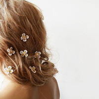 Bridal Hair Accessories, Wedding Hair Pins, İvory  Lace  Hair Pins, Lace and Golden  Flower Bobby Pins, Wedding Hair Accessories