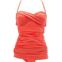 TWIST-FRONT RUCHED ONE-PIECE SWIMSUIT
