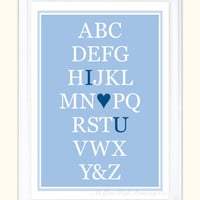 Alphabet Art I Love You 5x7 Print in Custom by AsYouWishPrinting