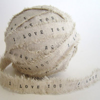 Personalized Ribbon 20 yards linen ribbon i love by TheLonelyHeart