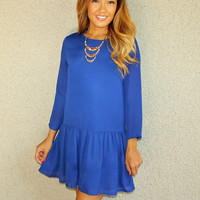 'Whitney' Drop Waist Dress (Blue)