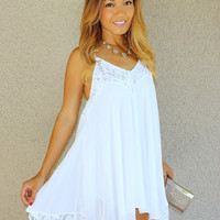 Lacey Daisy Babydoll Dress (White)
