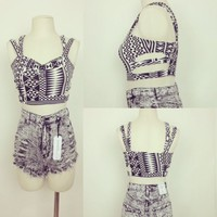 Aztec Black and White Double Strap Side Cut Outs Crop Top Sizes S-M- L