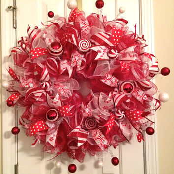 Christmas Candy Cane/Peppermint Ruffle Deco Mesh Wreath