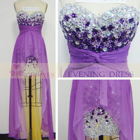 Alibaba Evening Dress With Crystal Stone Purple Yellow Chiffon Beaded Evening Dress - Buy Evening Dress,Alibaba Wedding Dresses,Evening Dress China Product on Alibaba.com