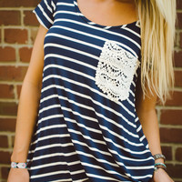 Anything Goes Crochet Pocket Tee - Piace Boutique