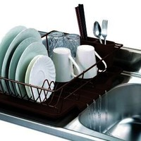 Home Basics 3-Piece Dish Drainer Set, Bronze