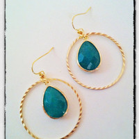 Gold Textured Hoops with Green Jade Stones by labellemoon on Etsy