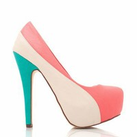 leather colorblock platforms &amp;#36;24.20 in CORAL SEAGREEN - Heels | GoJane.com