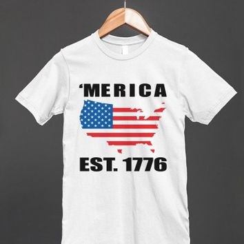 'merica est 1776 reg tee wht - glamfoxx.com - Skreened T-shirts, Organic Shirts, Hoodies, Kids Tees, Baby One-Pieces and Tote Bags
