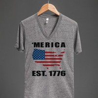 'merica est 1776 vneck - glamfoxx.com - Skreened T-shirts, Organic Shirts, Hoodies, Kids Tees, Baby One-Pieces and Tote Bags