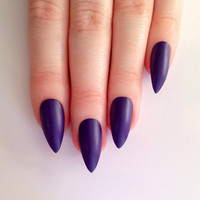 Matte Purple Stiletto nails, Nail designs, Nail art, Nails, Stiletto nails, Acrylic nails, Pointy nails, Fake nails