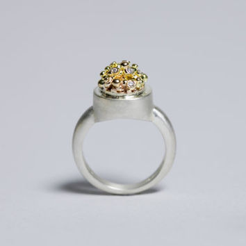 14K Yellow gold , Diamonds And Sterling Silver Bubbles Ring