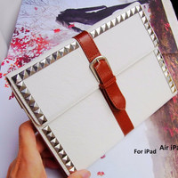 White iPad Air case - iPad Air Leather - Studded iPad case - iPad Air stand - iPad air Smart cover - iPad Handbag - iPad Air Cover Handmade