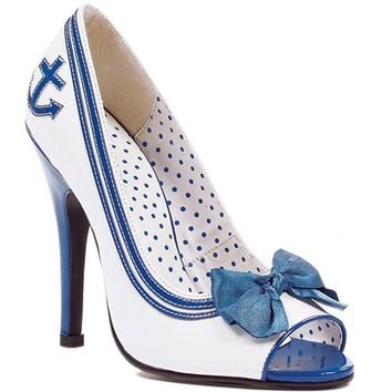 "Bettie Page™ ""Anchor"" Open Toe Heel (White/Blue)"
