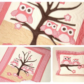 Owl Quilt,  Baby Shower Gift,  Owl Pillowcase, Organic Nursery Bedding,  Baby Blanket, Baby Bedding