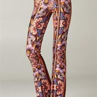 Fancy Floral Print Bell Bottom Pants