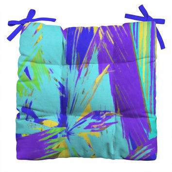 Rosie Brown Blue Palms 1 Outdoor Seat Cushion