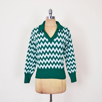 70s Zig-Zag Sweater Zig-Zag Stripe Sweater Chevron Sweater Chevron Stripe Mint Green Sweater 70s Sweater 70s Hippie Sweater Women M Medium