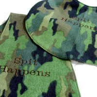 Embroidery Spit Happens Camo Green Baby Bib and Burp Cloth  Cotton Flannel