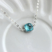 Dainty Aquamarine Blue Necklace Sterling Silver Chain - Charm Necklace Aqua Bridesmaid Necklace - Aquamarine Wedding Jewelry - Gift under 25