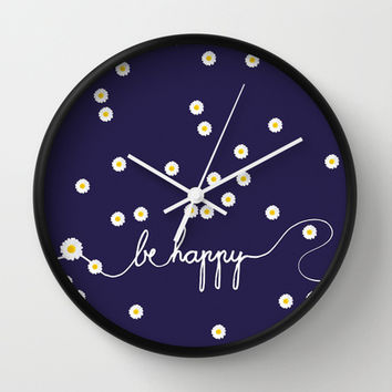 HAPPY DAISY Wall Clock by Monika Strigel | Society6