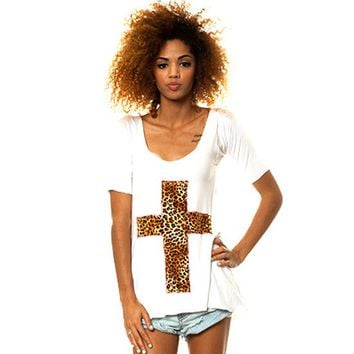 "Women's ""Leopard Cross"" Tank by Marialia (White)"