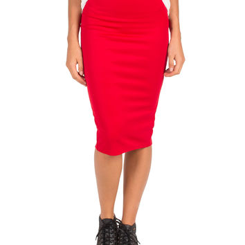 Bodycon Midi Skirt - Red - Red /
