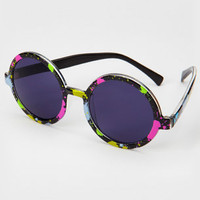 FredFlare.com - Round Paint Splatter Sunglasses - 80&#x27;s Style Sunglasses