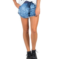Comfy Drawstring Jogger Denim Shorts