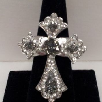 Grey Rhinestone Cross